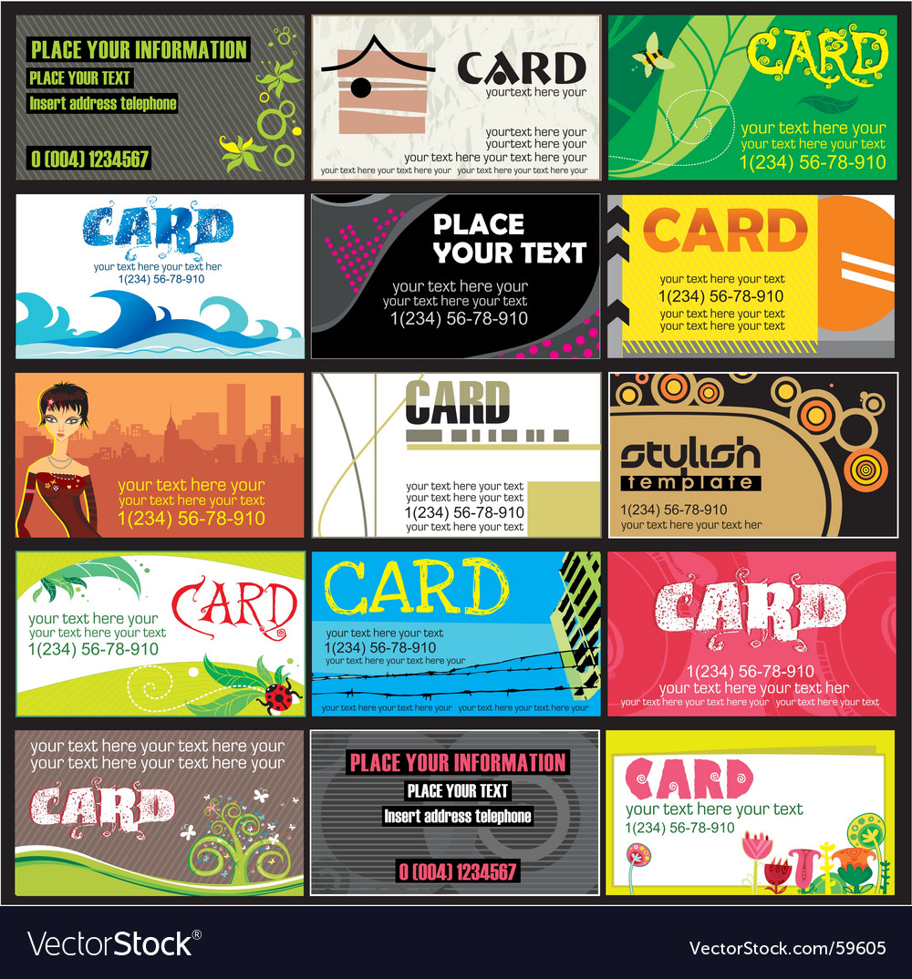 15 colorful business cards set Royalty Free Vector Image