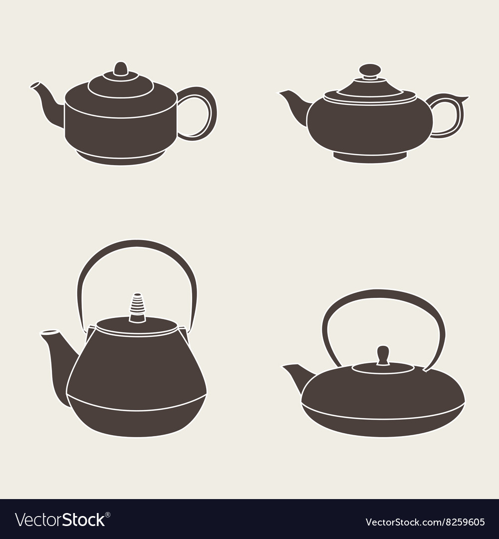Set isolated icon silhouette teapots vector image