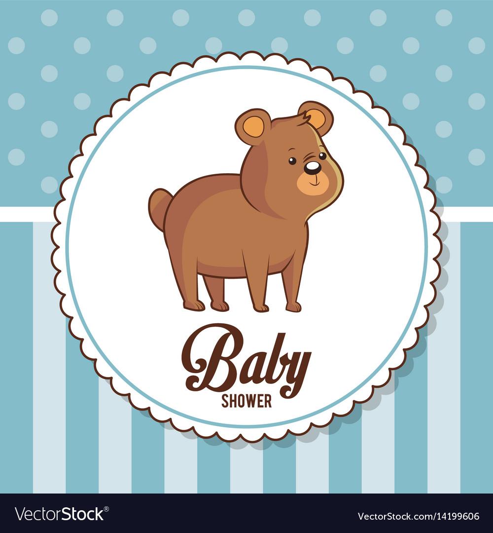 Baby shower card invitation cute bear vector image