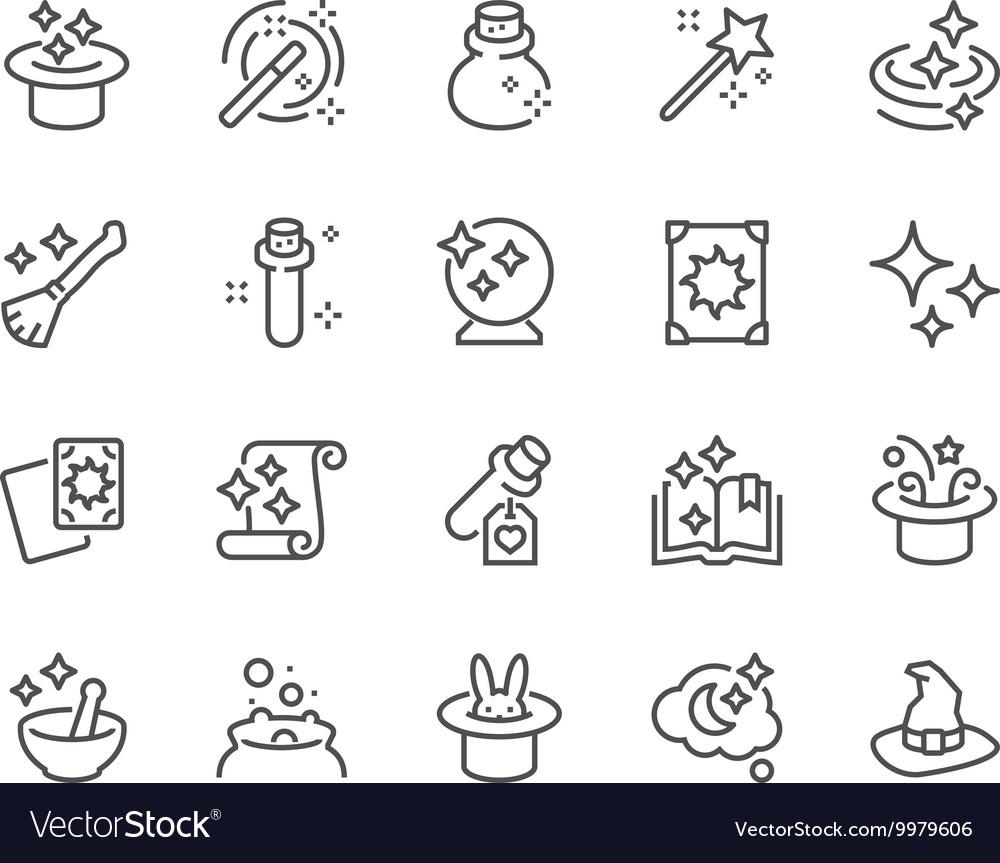 Line Magic Icons vector image