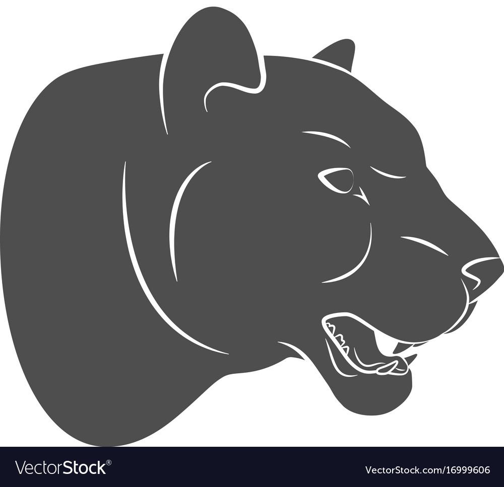 Silhouette predatory cat leopard vector image