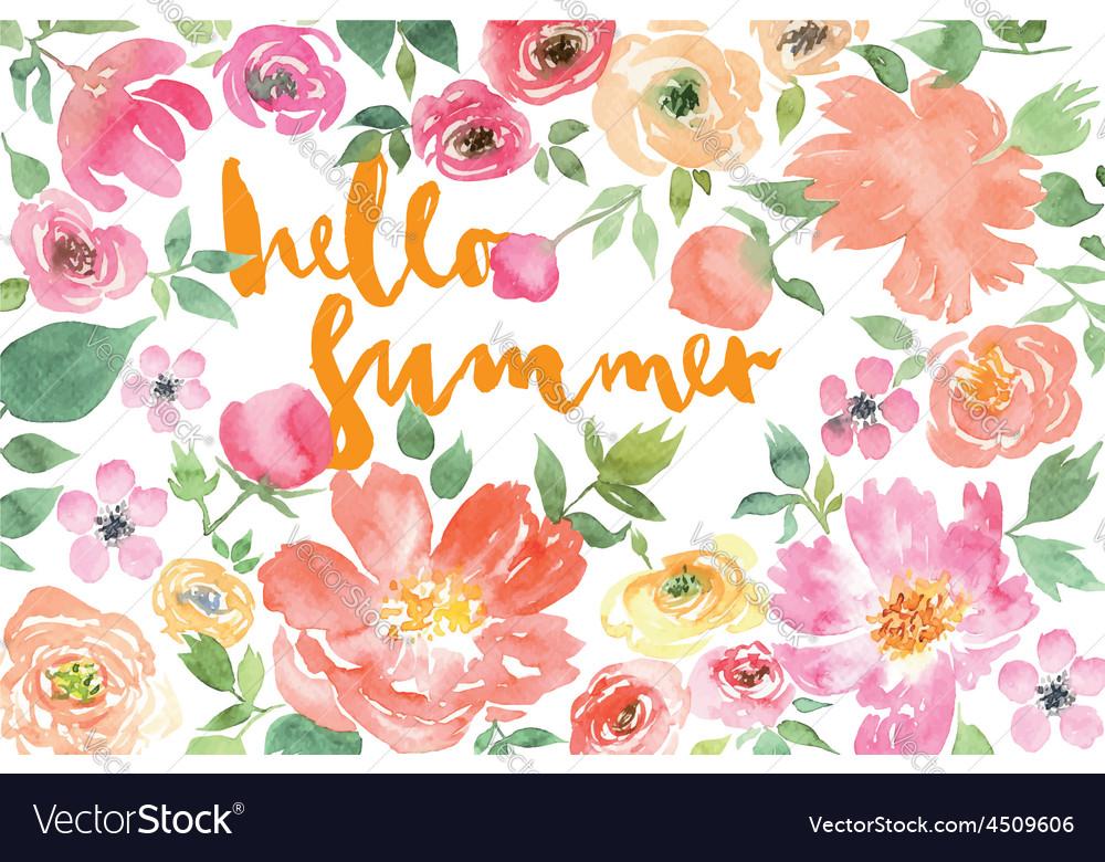 Watercolor flower summer vector image