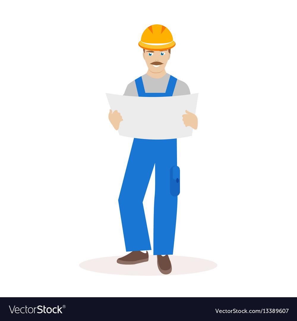 Builder or construction superintendent in a helmet vector image