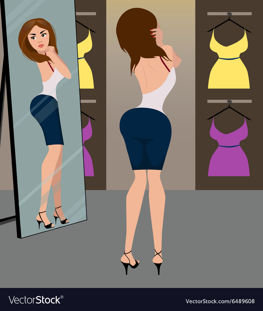 Girl in the fitting room vector image