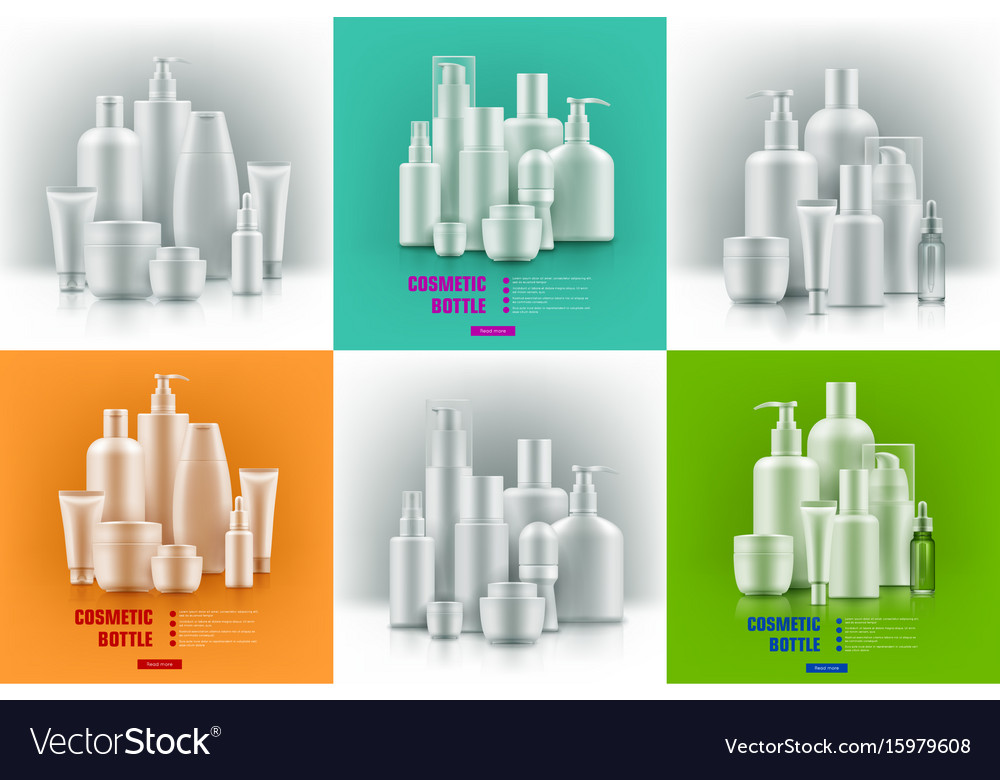 Realistic cosmetic containers vector image