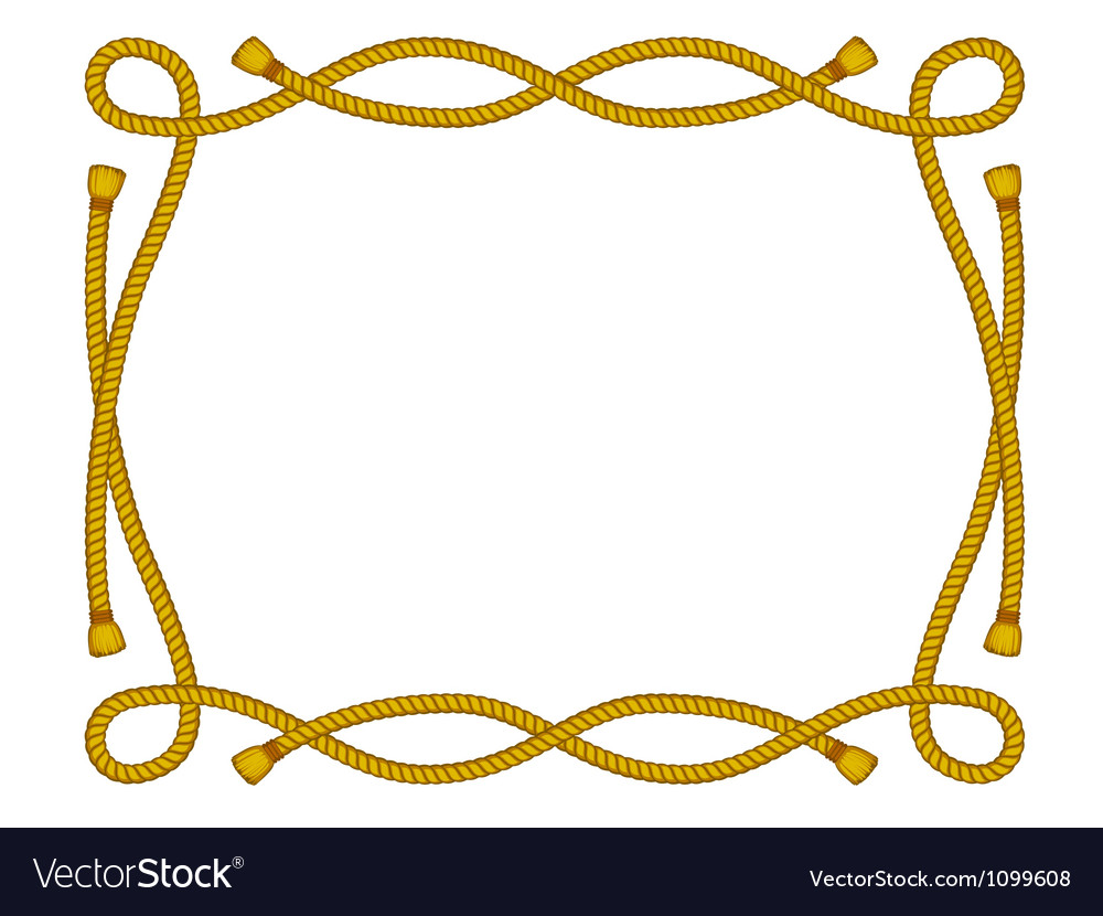 Rope frame isolated on white vector image