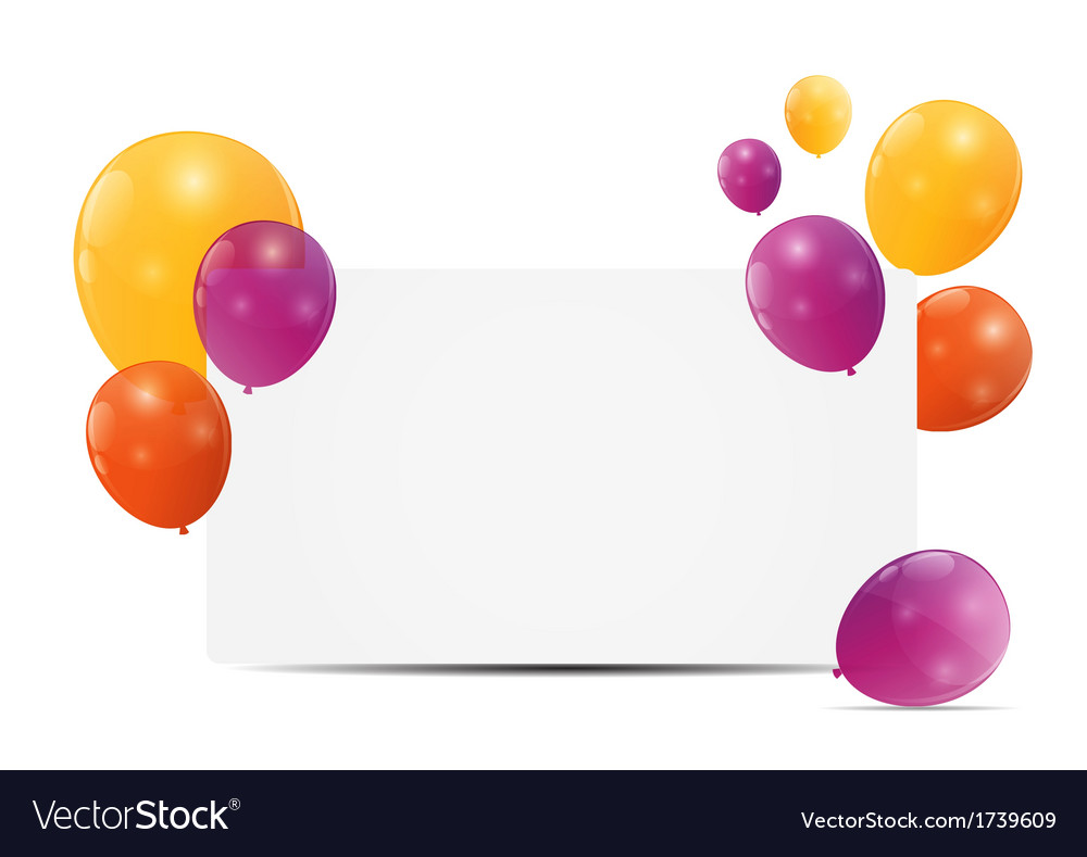 Color glossy balloons birthday card background vector image bookmarktalkfo Choice Image