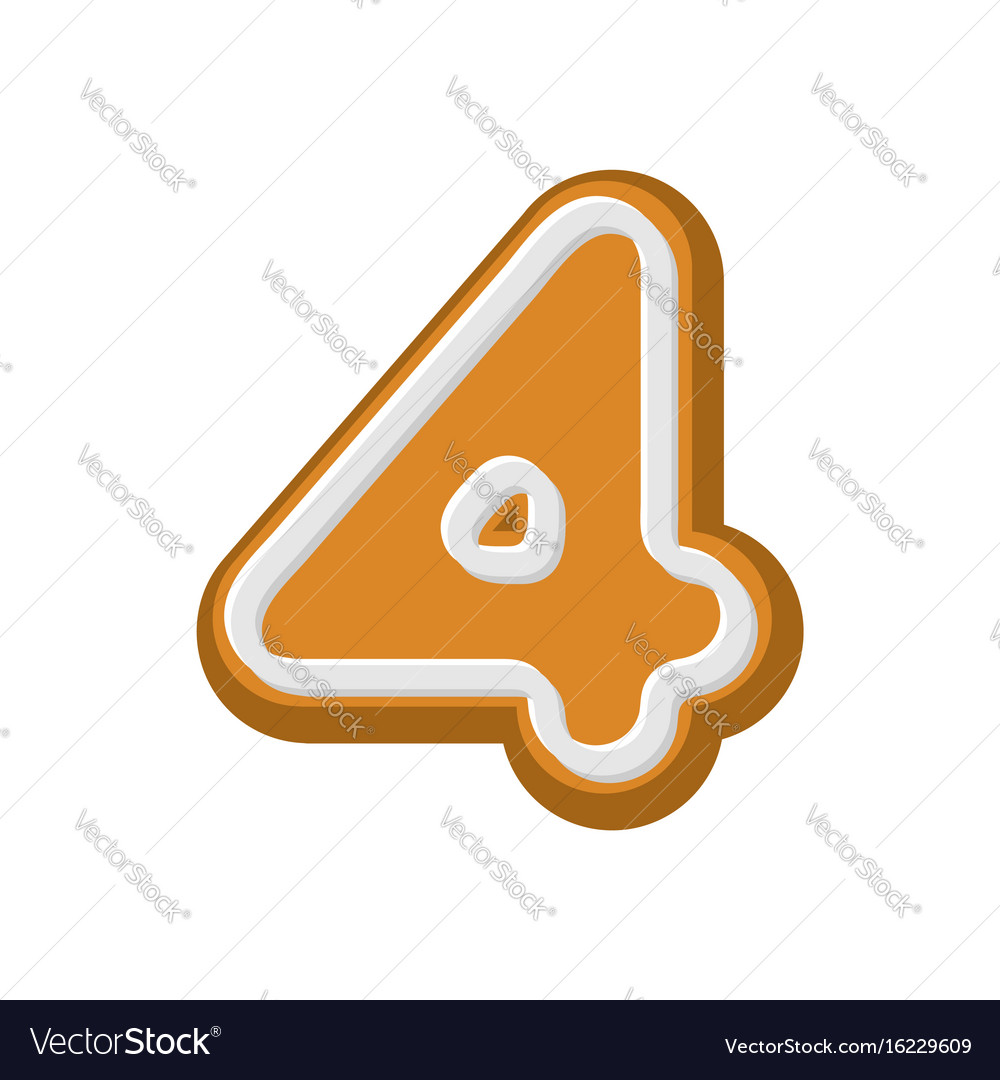 Number 4 gingerbread font peppermint honey-cake vector image