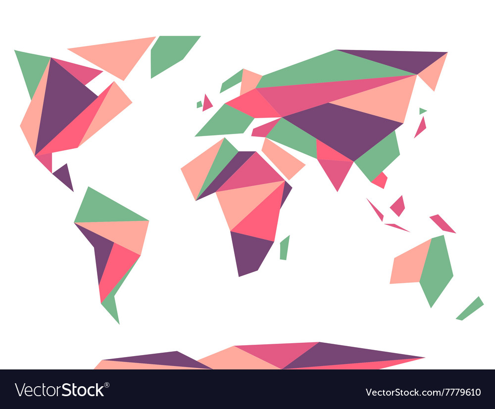 Low polygonal origami style world map abstract vector image gumiabroncs Choice Image