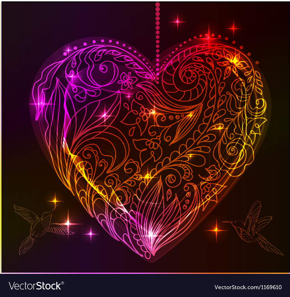 Valentine bright heart vector image