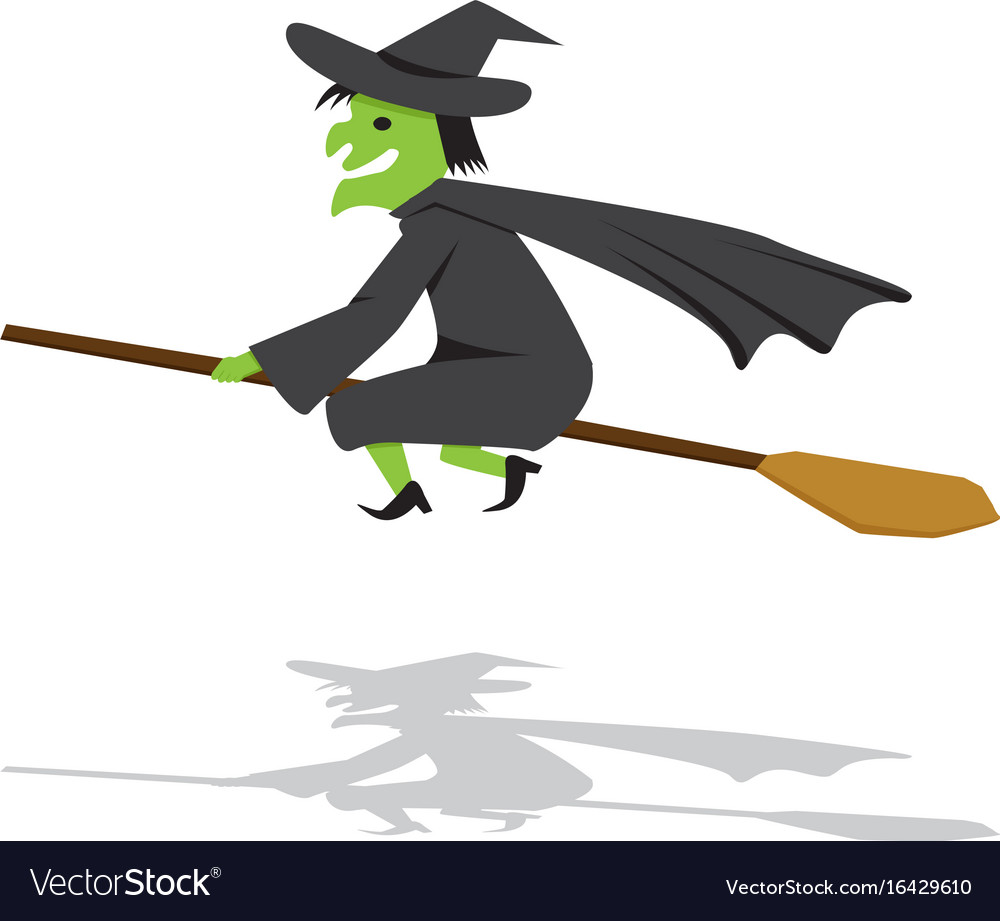 Witch on a broomstick in flat cartoon style vector image