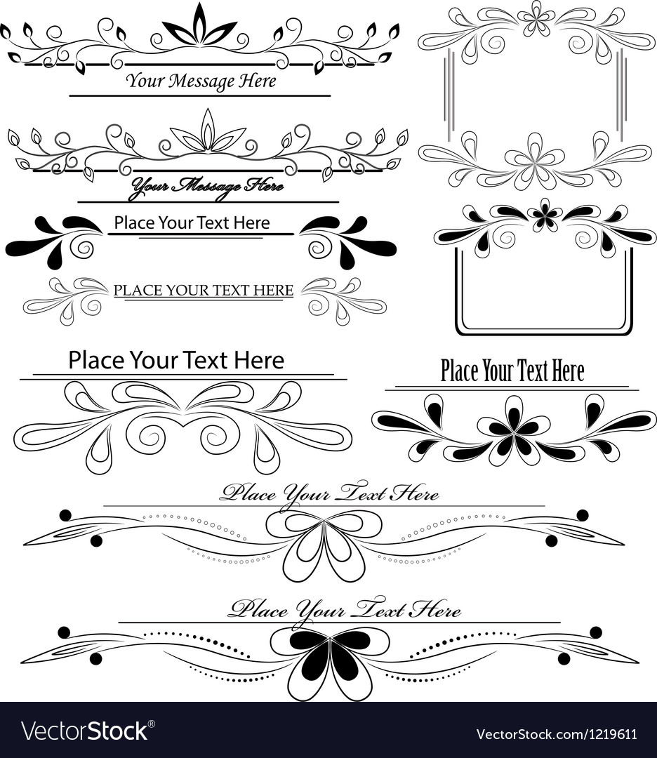Set of floral calligraphic design elements Vector Image