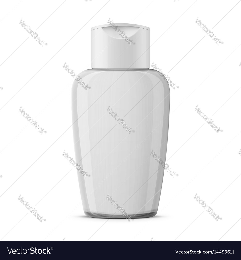 Clear plastic cosmetic bottle template vector image