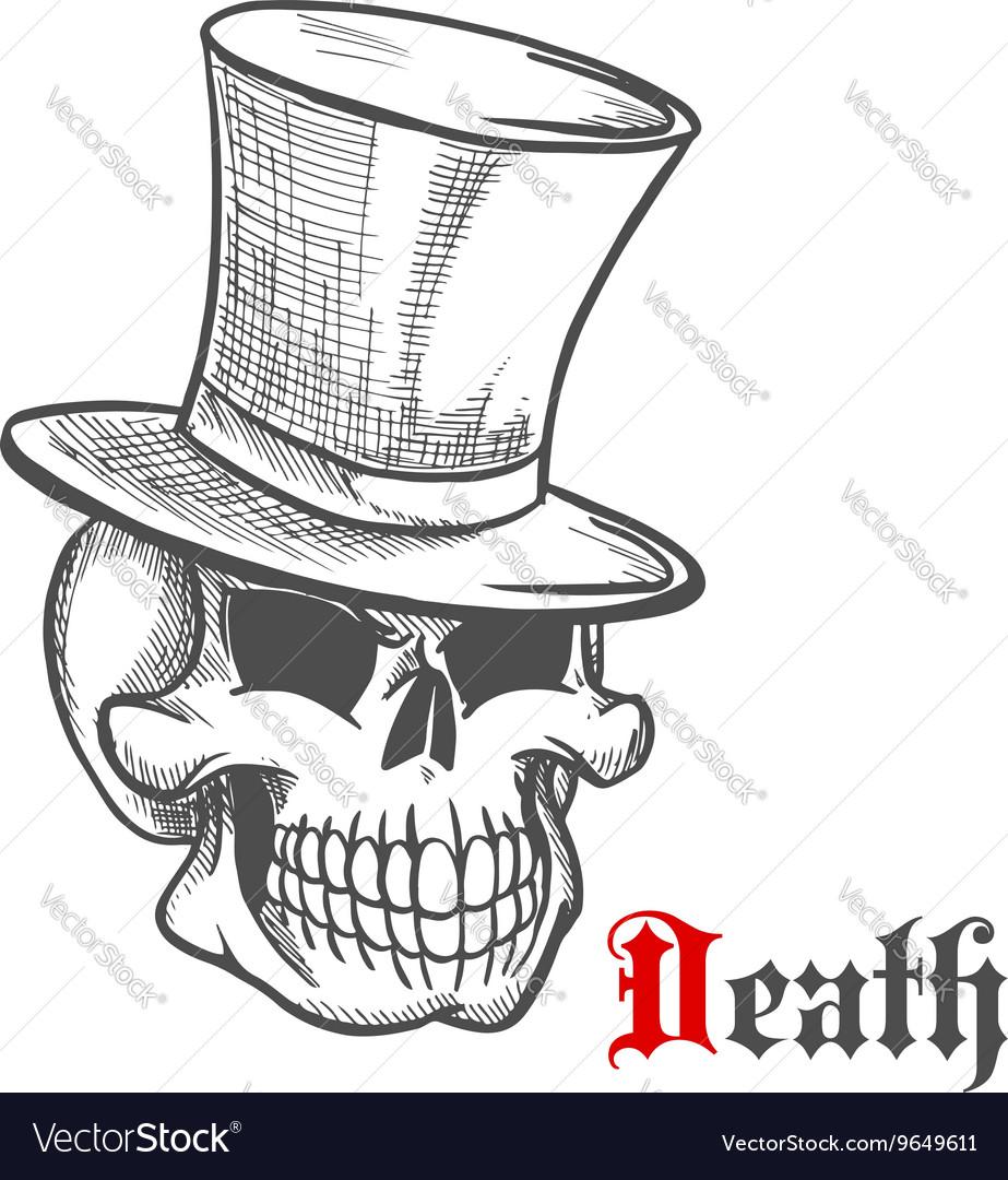 Elegant mister skull in vintage top hat sketch vector image