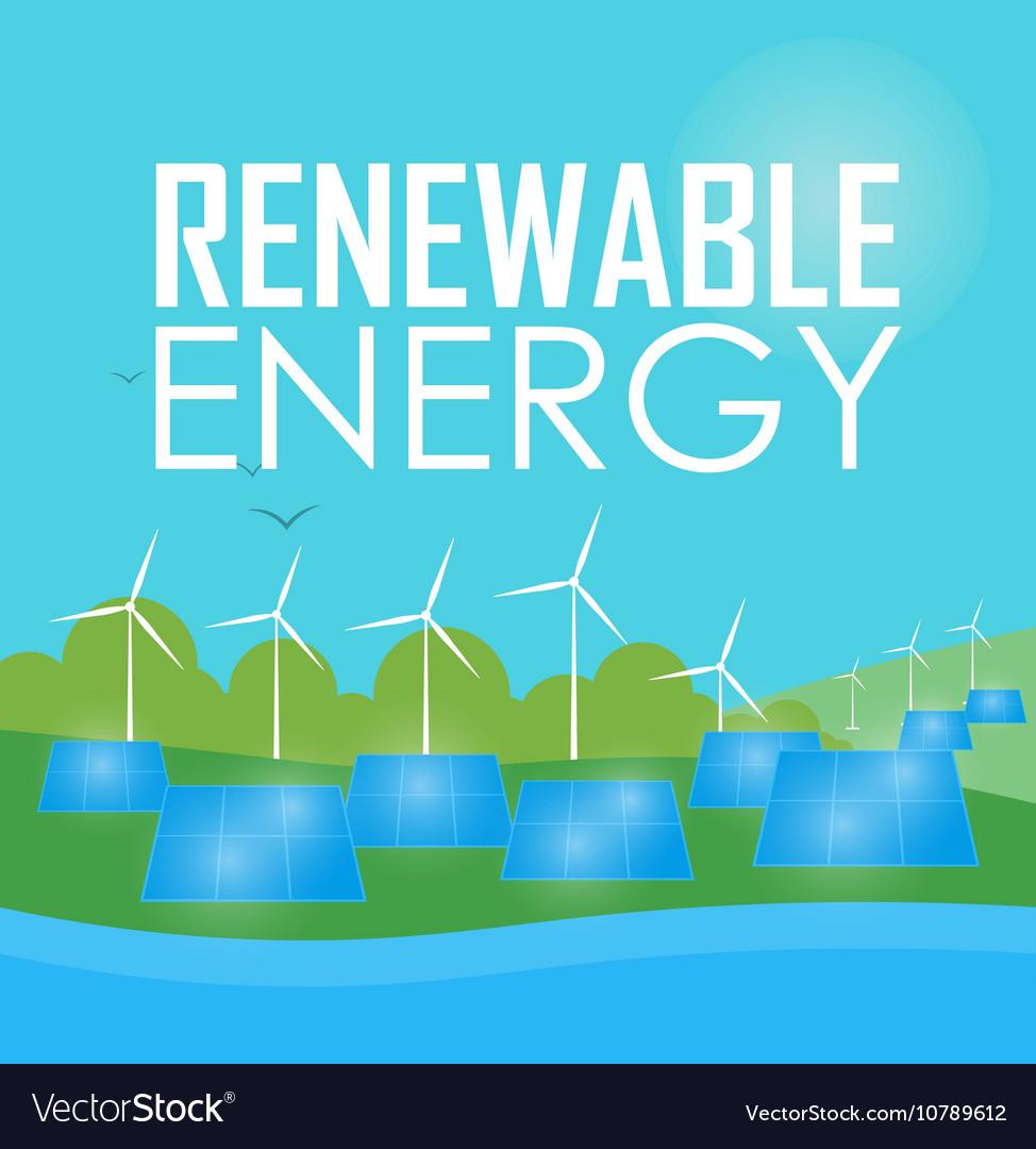 Renewable energy Wind and sun generation vector image