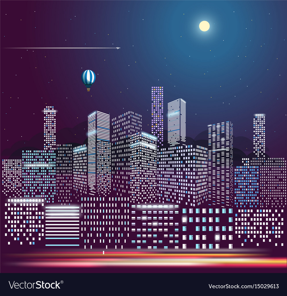 Modern city life in the night city buildings in vector image