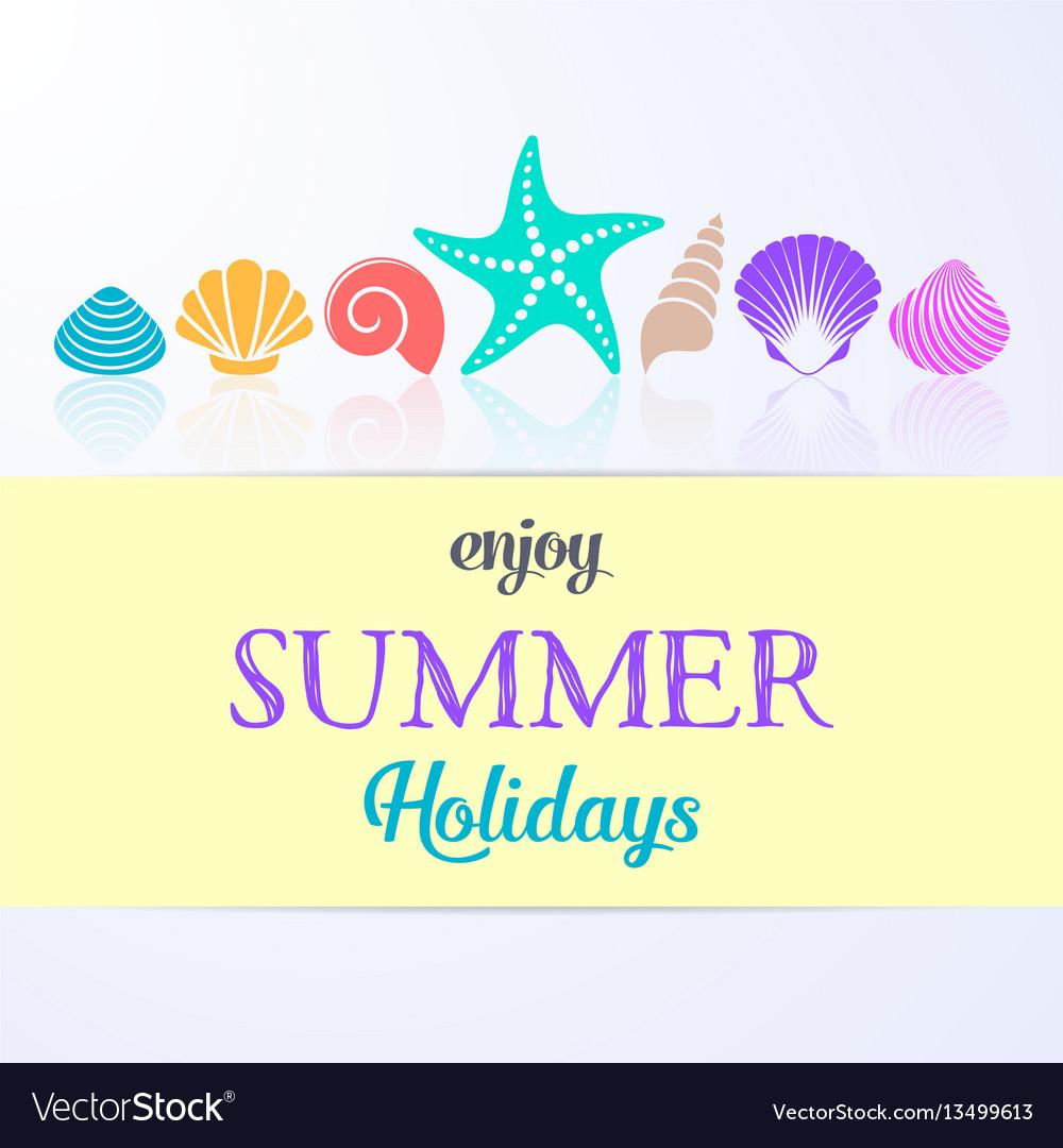 Summer holidays card with sea shells vector image
