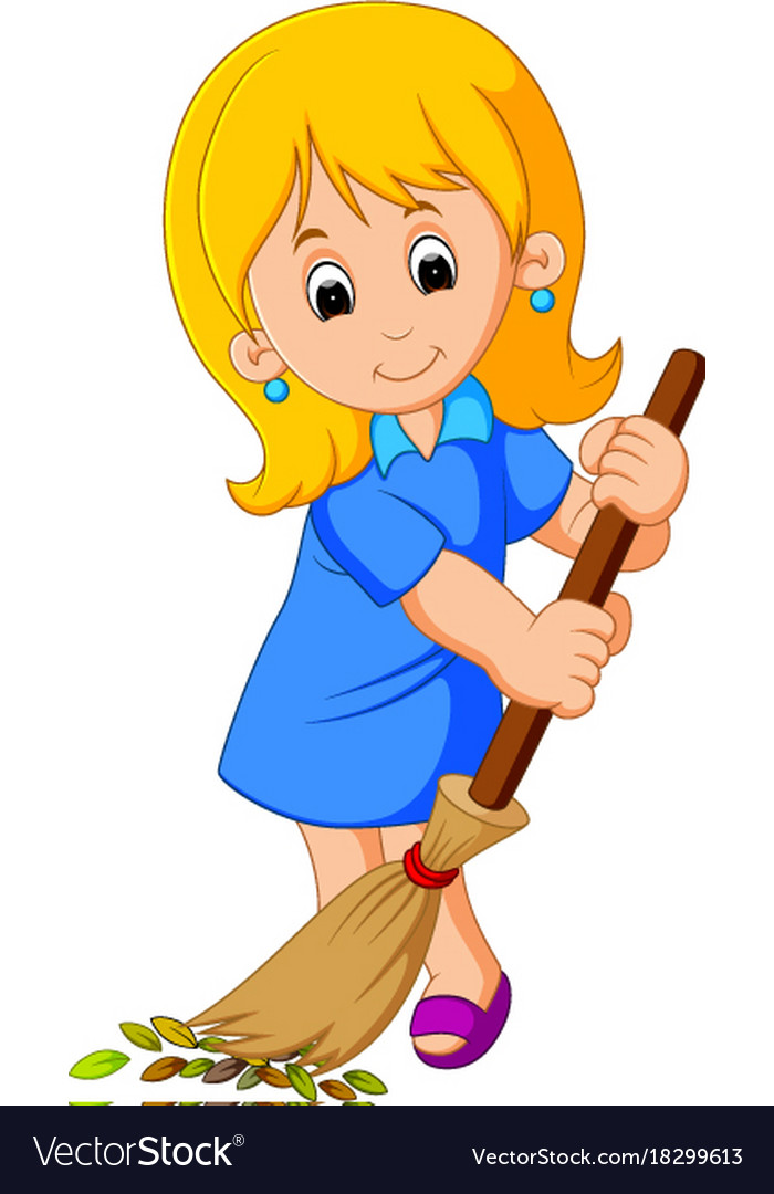 Young girl sweeping vector image