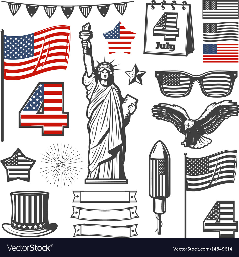 Vintage independence day elements collection vector image