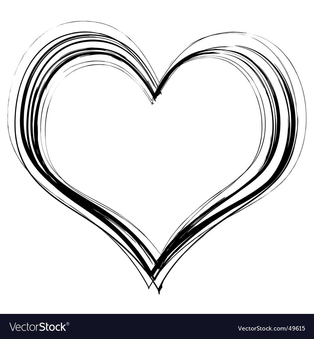 Scribble heart vector image