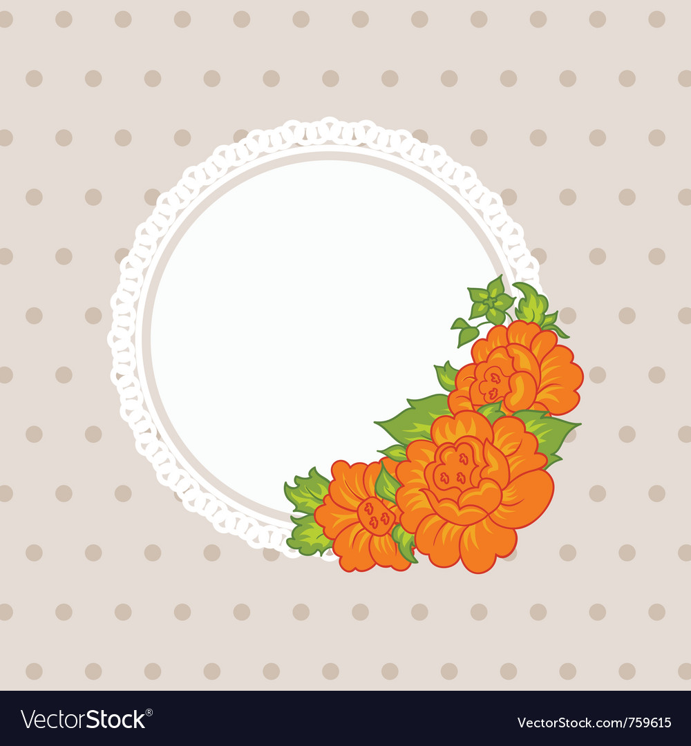 Wedding card with flowers - vector image