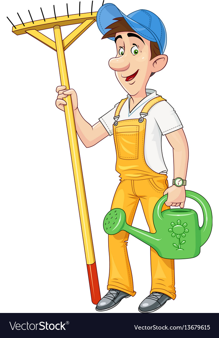 Gardener with rake vector image