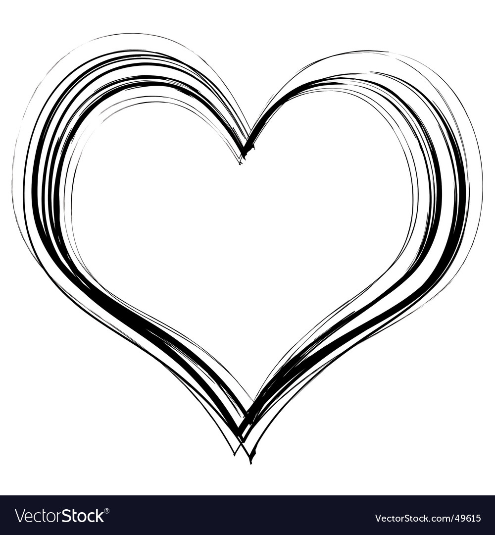Scribble heart vector image