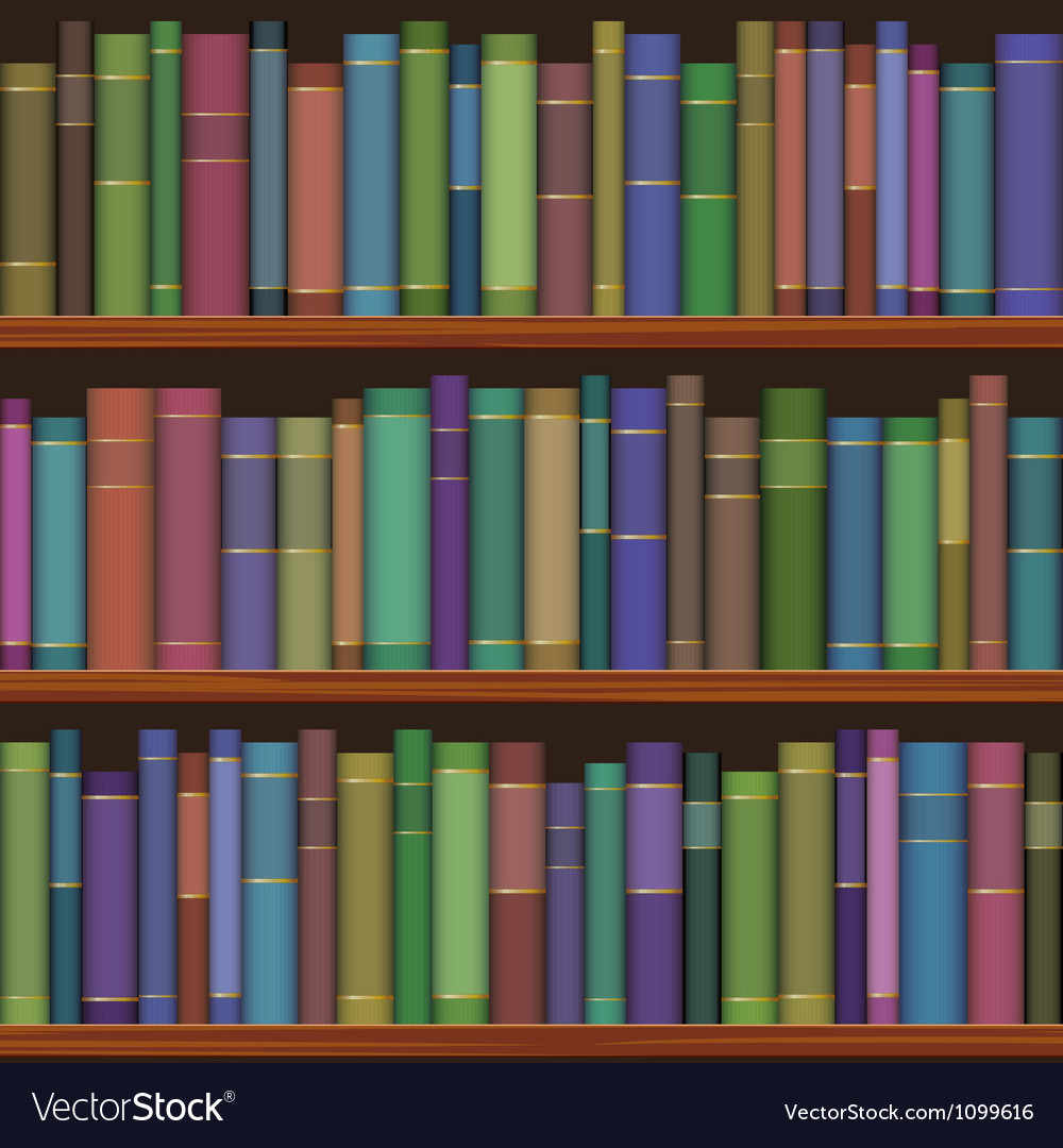 Seamless library shelves with old books vector image