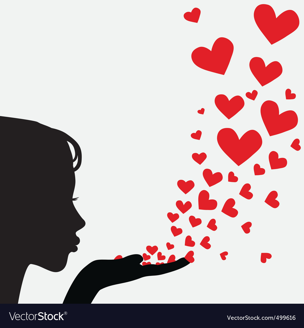Silhouette woman blowing heart vector image