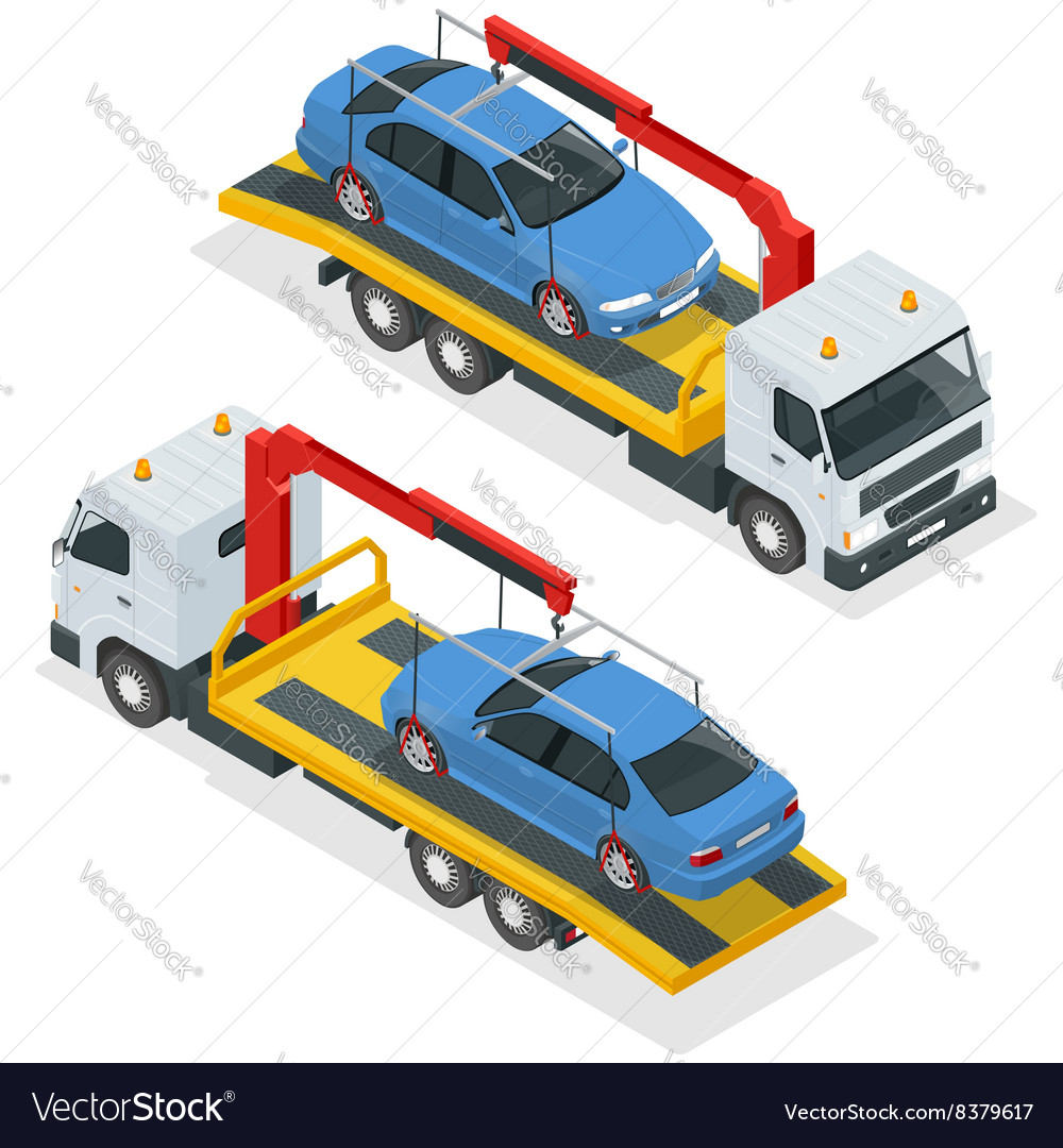 Tow truck isometric Car towing truck 3d Royalty Free Vector