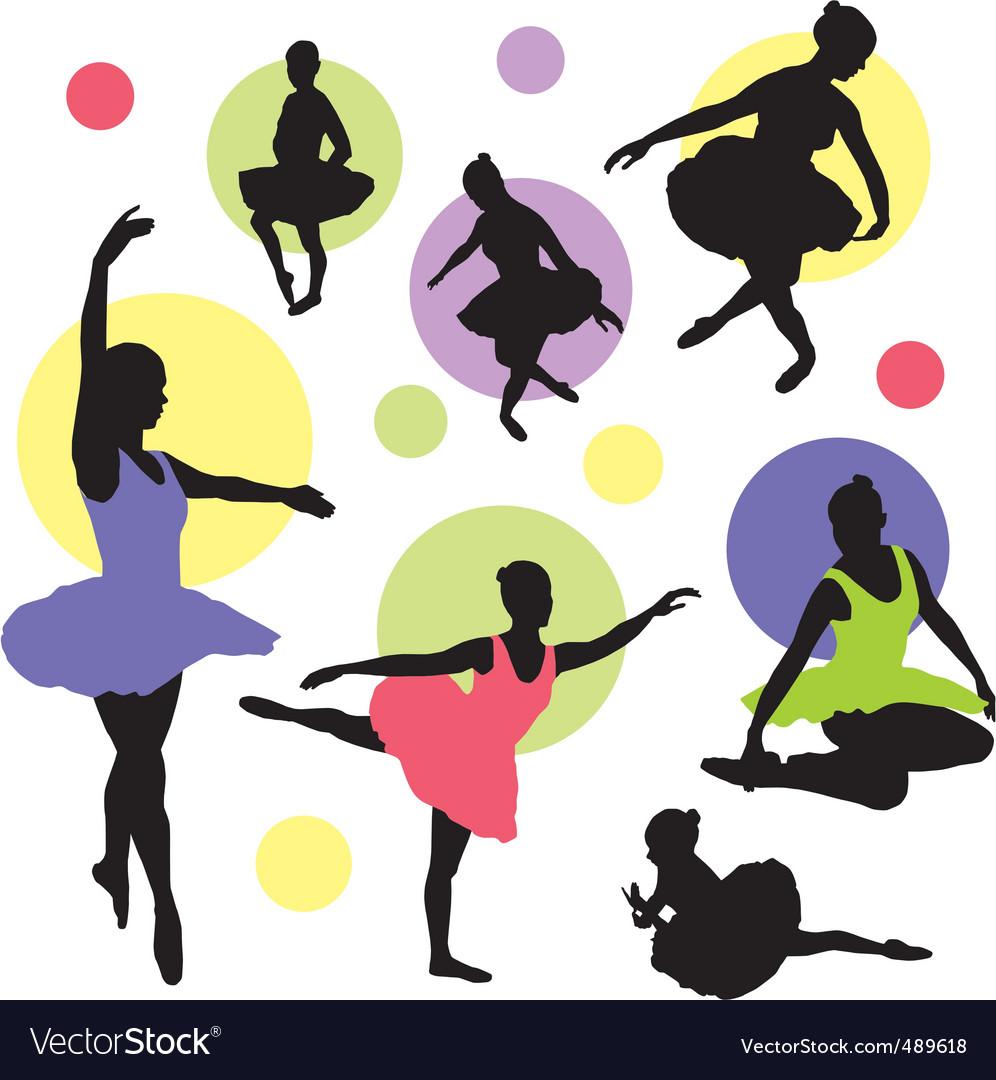 Set ballet silhouettes vector image