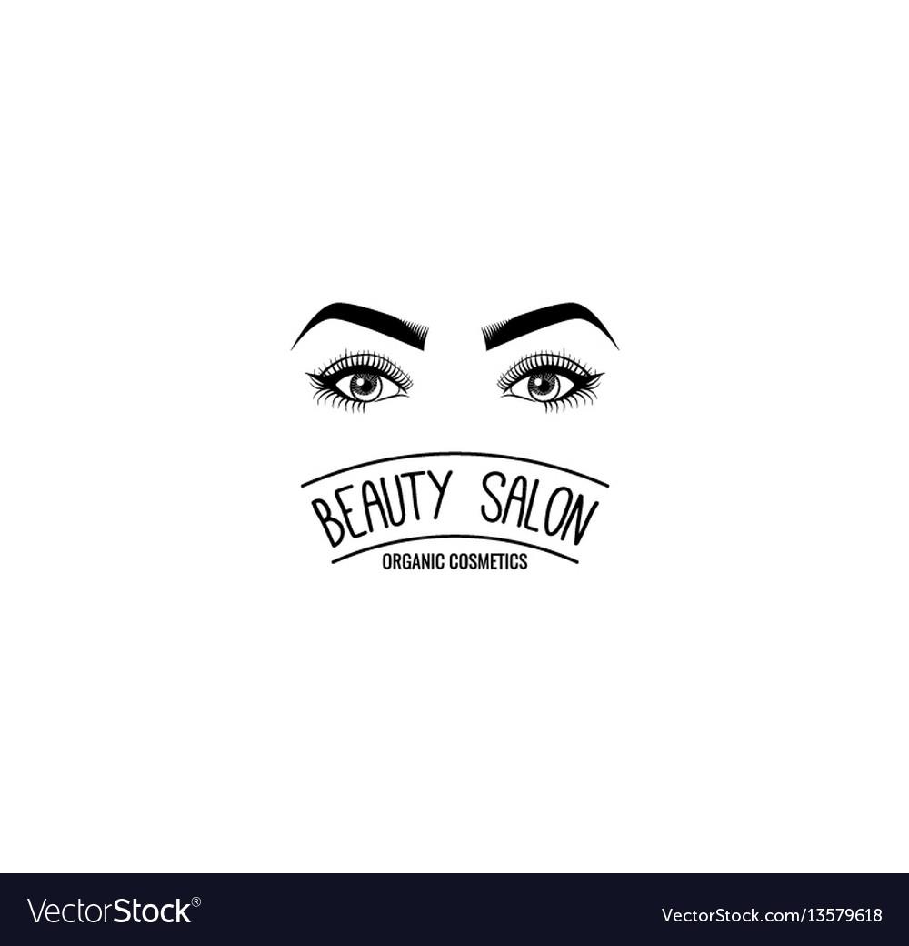 Female eyes beauty salon label mascara for vector image