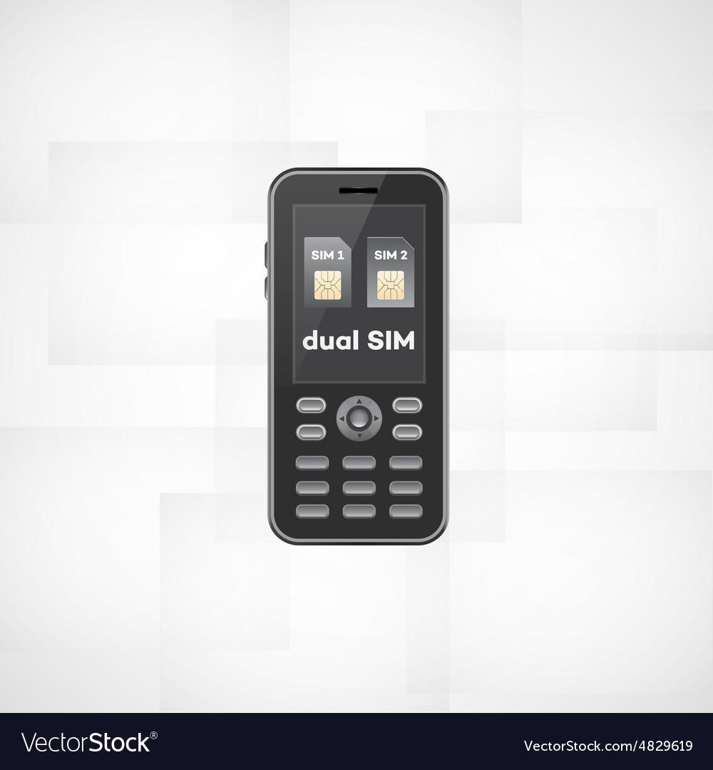 Dual sim phone vector image