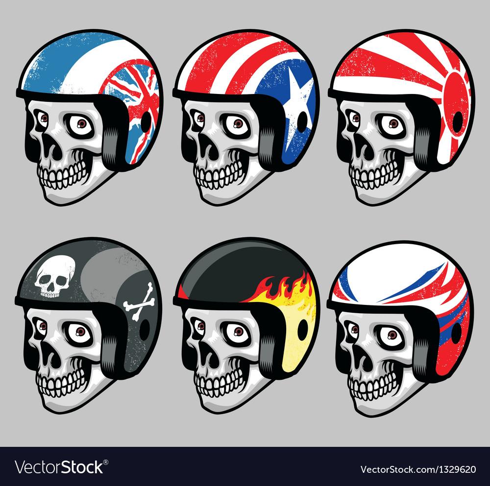 Skull wearing various retro helmet Vector Image
