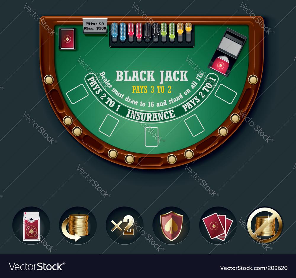 Blackjack table top view - Blackjack Table Layout Vector