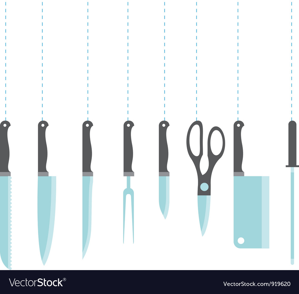 Icons of kitchen knifes vector image