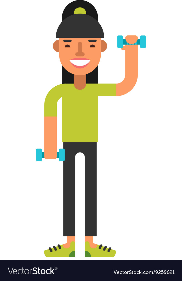 Sporty girl in green T-shirt working out with a vector image