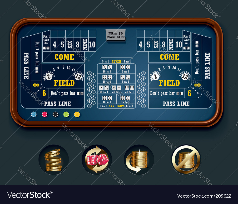 craps table layout big vector image