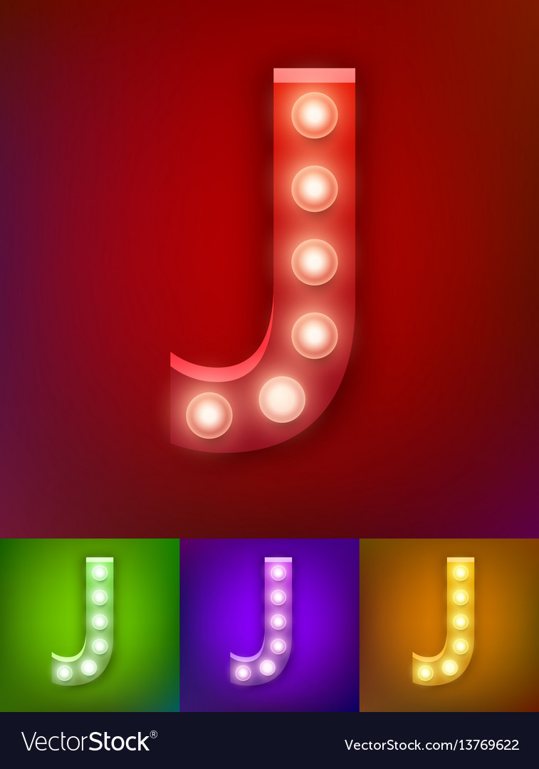 Realistic old lamp alphabet vector image