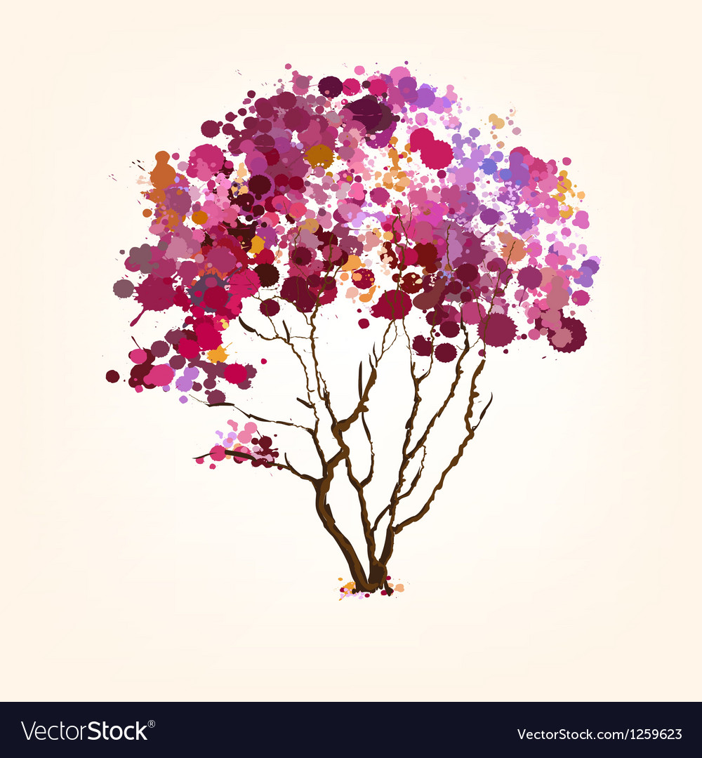 Spring tree of blots background vector image
