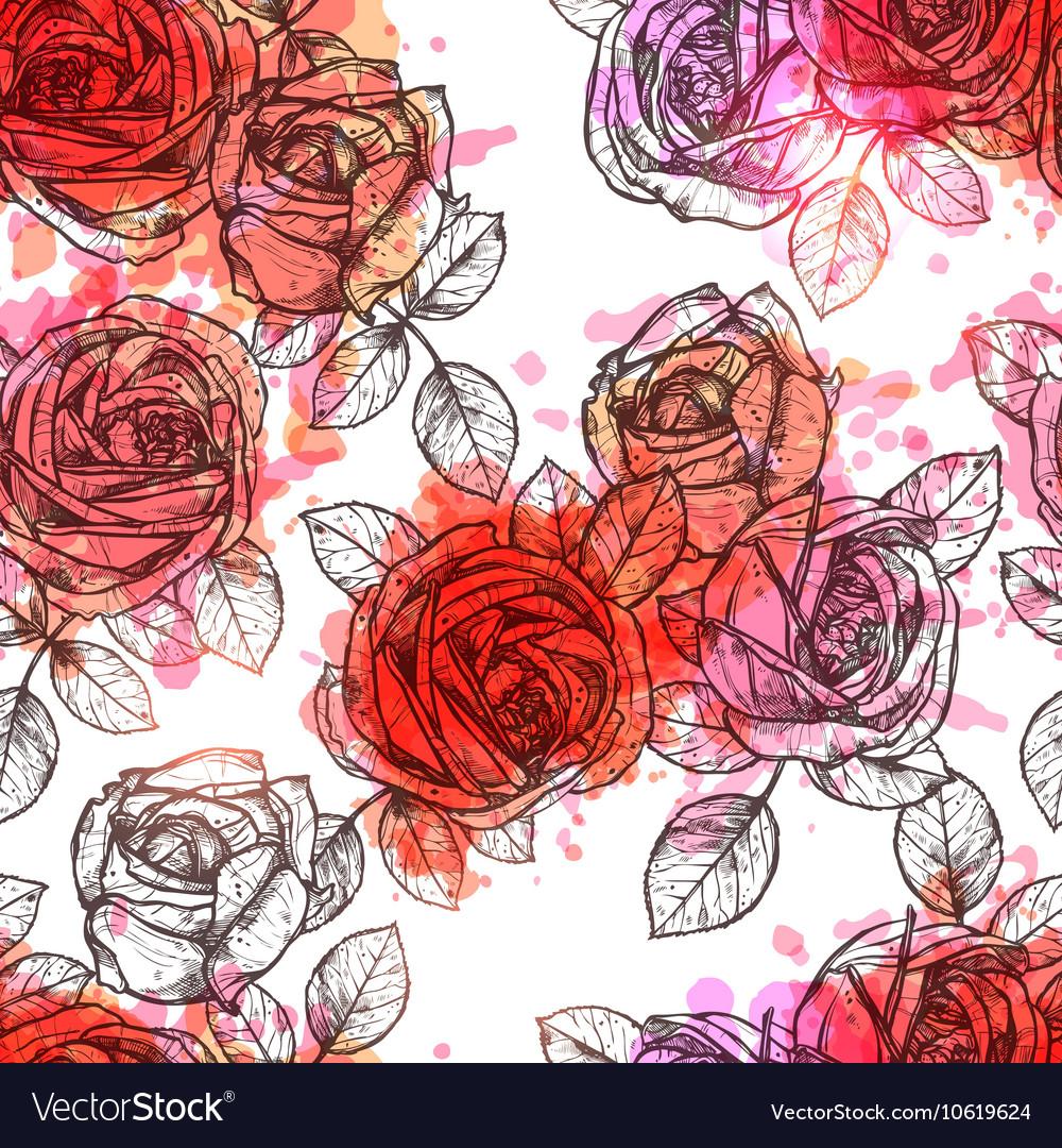 Flower Seamless Hand Drawn Pattern vector image