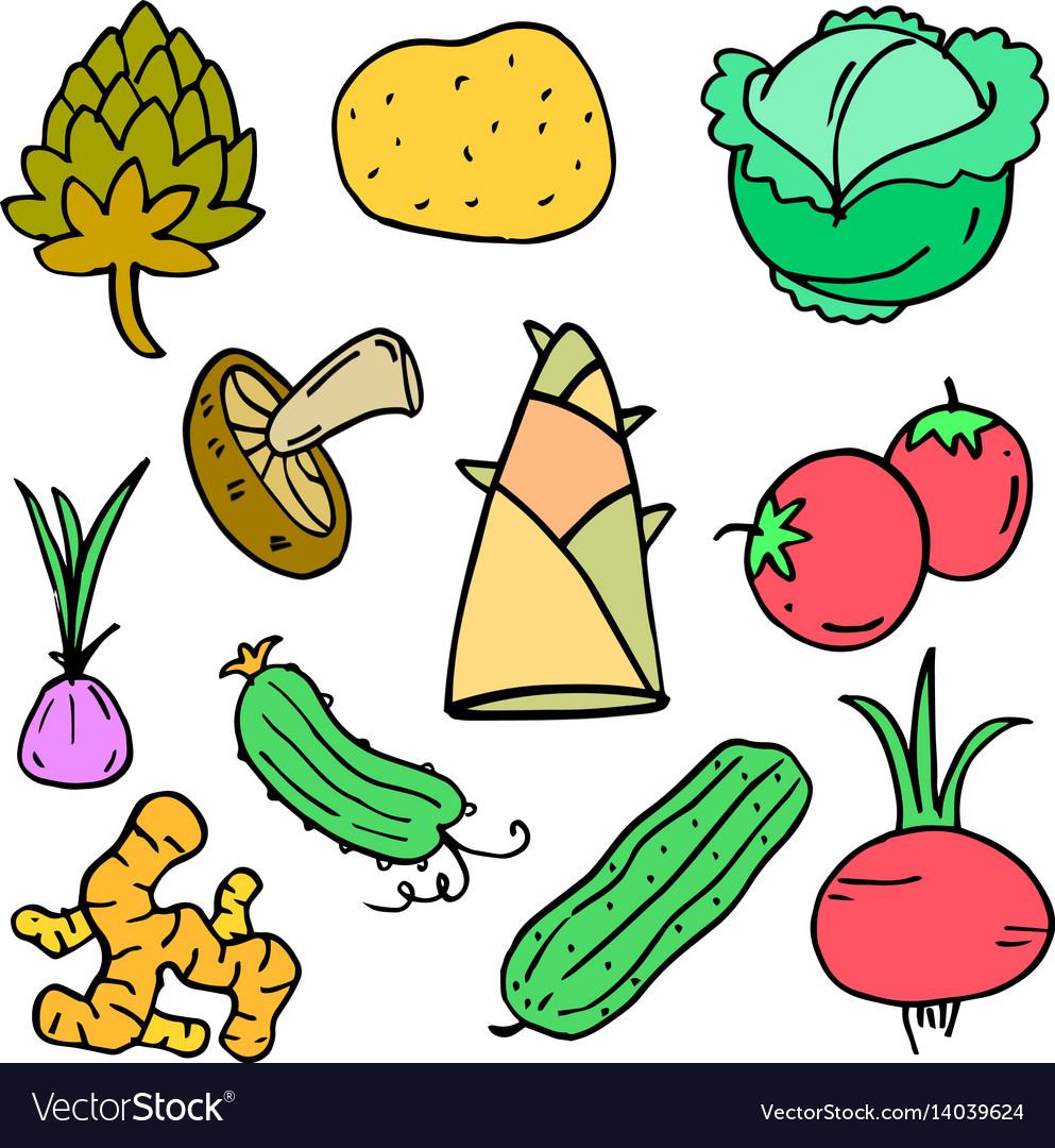 Fresh vegetable doodle set vector image