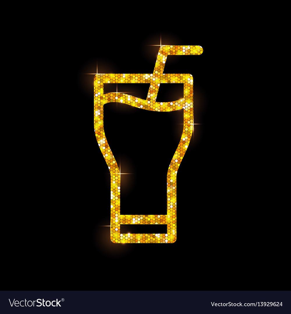 Golden cocktail flat icon long island ice tea vector image