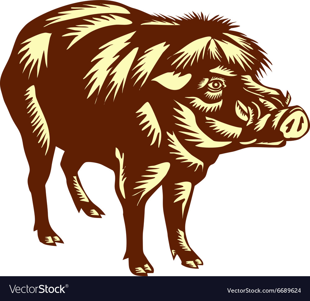 Philippine Warty Pig Woodcut vector image