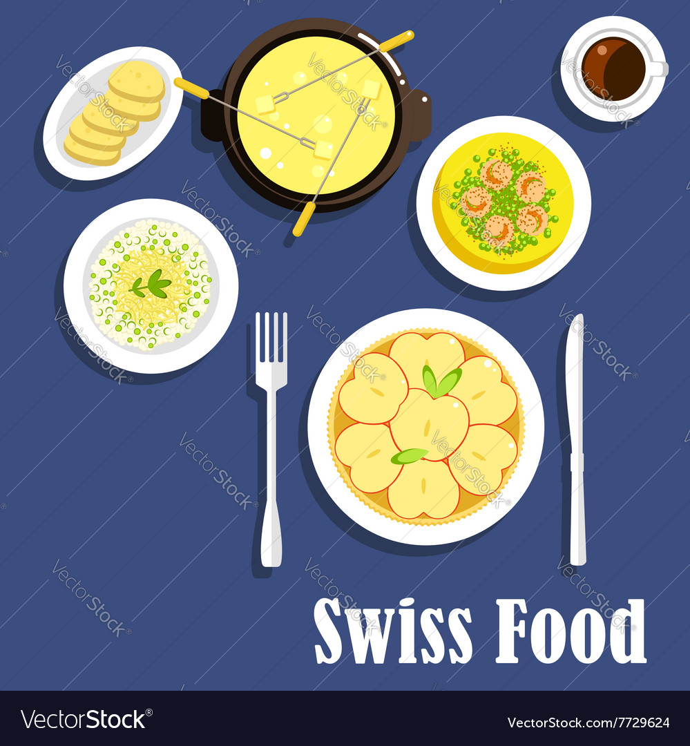 Swiss cuisine dishes and cheese fondue vector image