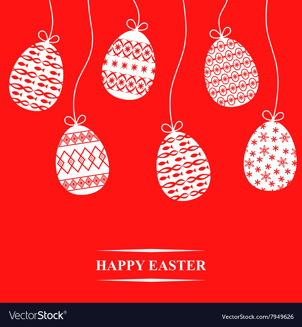 Easter hang card red vector image