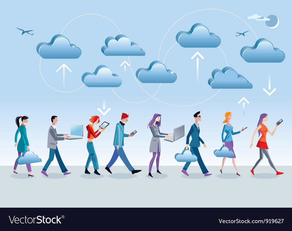 Cloud Computing Walking vector image