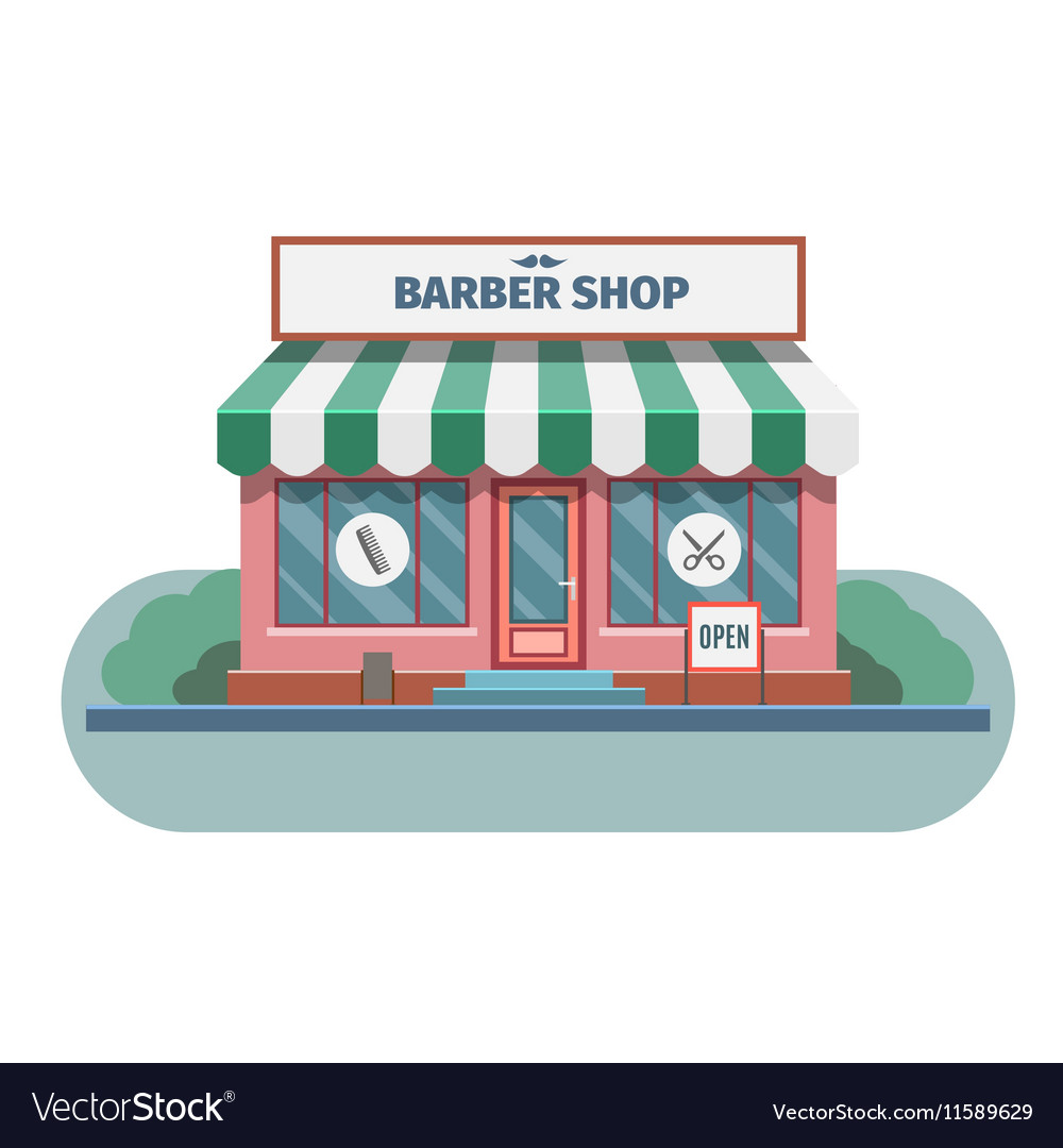 Barber shop in town vector image