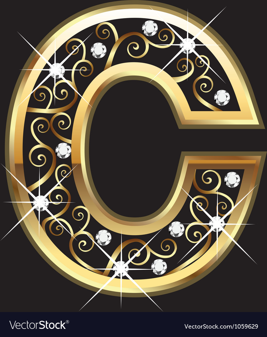 C gold letter with swirly ornaments vector image