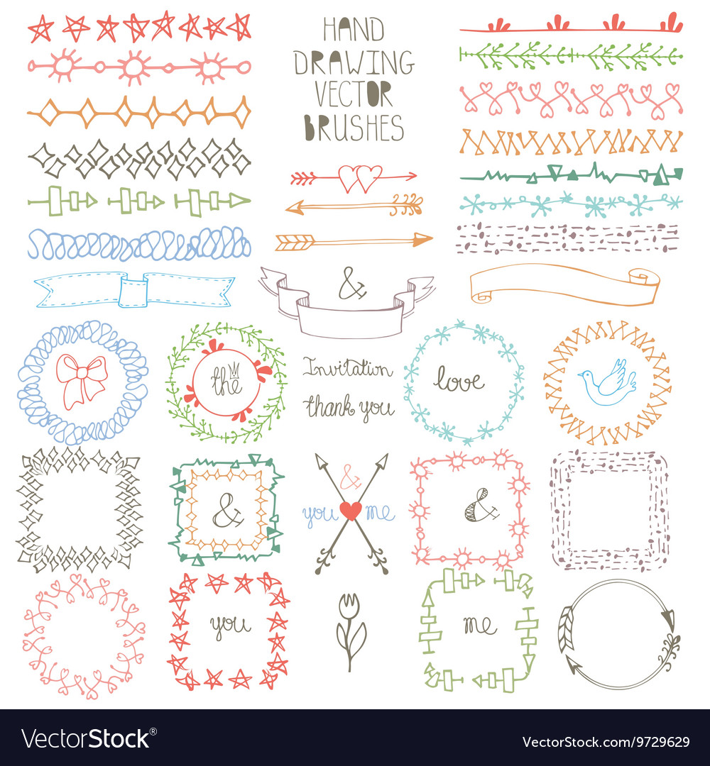 Hand drawn Doodle brushes wreath frame set vector image